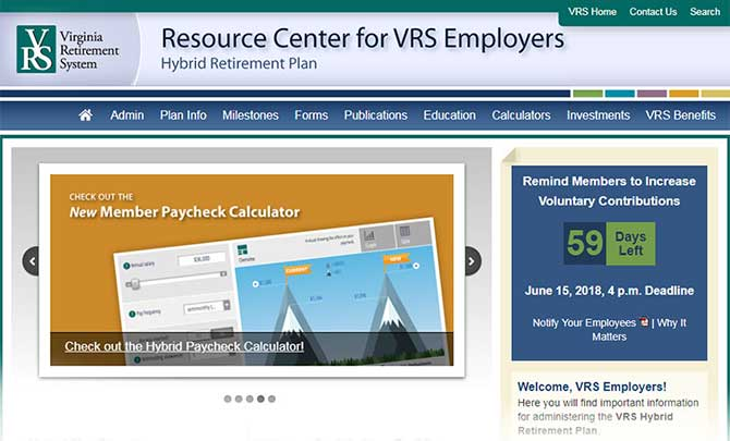 Screenshot: Hybrid Employer Resource Center Site